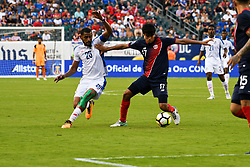 July 19, 2017 - Philadelphia, Pennsylvania, U.S - ANIBAL ARROYO, (20), fights for the ball against VELTSIN TEJEDA, (17), of Costa Rica during their quarter final match held at Lincoln Financial Field in Philadelphia PA (Credit Image: © Ricky Fitchett via ZUMA Wire)