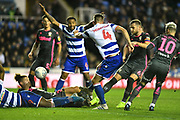 Reading's Michael Morrison (4) shoots over during the EFL Sky Bet Championship match between Reading and Leeds United at the Madejski Stadium, Reading, England on 26 November 2019.