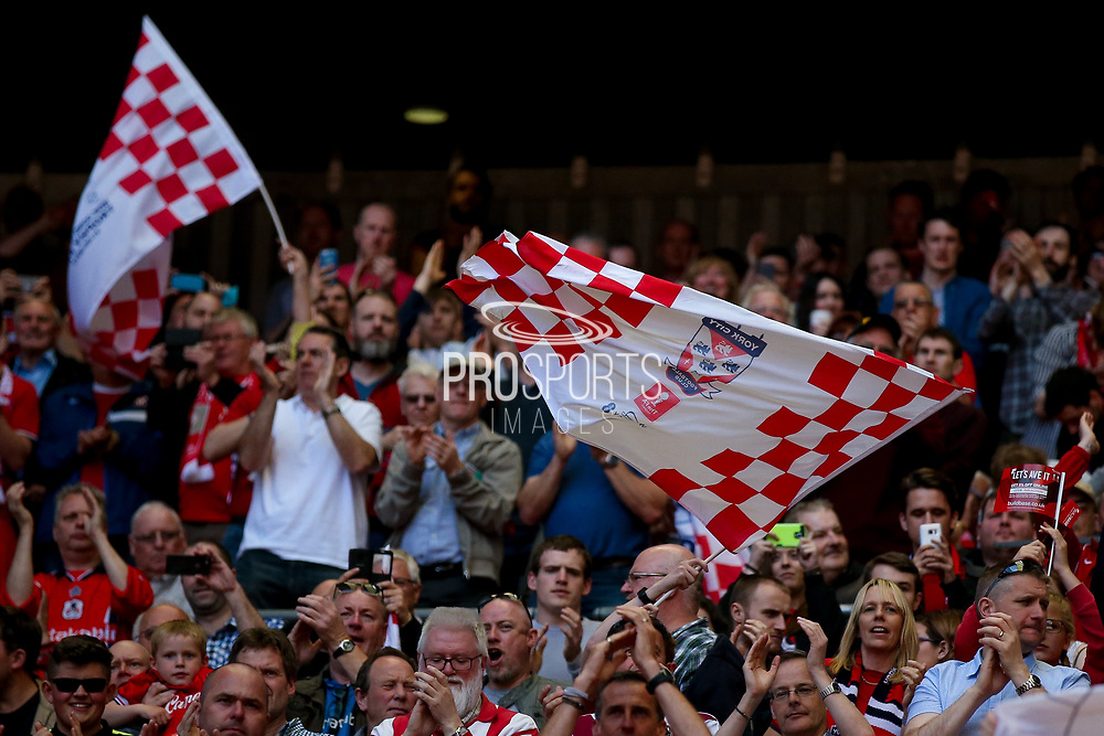 York City fans during the FA Trophy match between Macclesfield Town and York City at Wembley Stadium, London, England on 21 May 2017. Photo by Simon Davies.