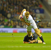 Twickenham, GREAT BRITAIN, Billy TWELVETREES breaks Ryan GRANT'S tackle, during the 2013 Six Nations Rugby match, England vs Scotland. Played at the RFU Stadium Twickenham, Surrey on  Saturday  02/02/2013 [Mandatory Credit: Peter Spurrier/Intersport-images]