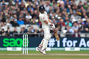 Rory Burns of England sways out of the way of a bouncer from Pat Cummins of Australia during the International Test Match 2019, fourth test, day three match between England and Australia at Old Trafford, Manchester, England on 6 September 2019.