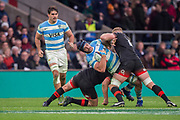 Twickenham, Surrey United Kingdom. Dylan HARTLEY and Sam UNDERHILL, tackle Tomas LAVANINI, during the England vs Argentina. Autumn International, Old Mutual Wealth series. RFU. Twickenham Stadium, England. <br /> <br /> Saturday  11.11.17.    <br /> <br /> [Mandatory Credit Peter SPURRIER/Intersport Images]