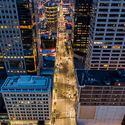 Drone's eye aerial view above Main Street in Kansas CIty, Missouri's downtown area.