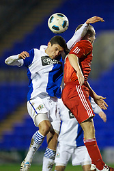 BIRKHENHEAD, ENGLAND - Monday, February 28, 2011: Liverpool's Jay Spearing and Blackburn Rovers' captain Jason Lowe during the FA Premiership Reserves League (Northern Division) match at Prenton Park. (Photo by David Rawcliffe/Propaganda)