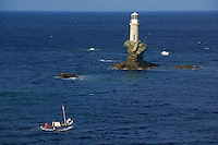Grece, Cyclades, ile de Andros, ville de Hora, la capitale, le phare Tourlotis // Greece, Cyclades islands, Andros island, city of Hora, Tourlotis lighthouse