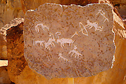 Prehistoric Rock art in the desert depicting a hunting scene, 3rd millennium BCE, The valley of rock art exhibits 6000 year old rock art located in the ancient copper mines of the Arabah and along the desert roads leading to these mines. These rock drawings are unique witnesses of the creativity of man in the desert, Timna natural and historic park, Israel, The Timna Valley is located in the southwestern Arava, some 30 km. north of the Gulf of Eilat. The traces of ancient civilizations are, too, very interesting to look at in Timna. Copper mining was known there at least from the 18th century B.C. Later Egyptians, who conquered the area, made Timna a very important source of copper. There are many ancient copper mines in the valley, some look like holes in the ground, others are caves hewn in stone; in some places, there are remains of copper-smelting ovens. There is a place where you can see Egyptian rock drawings. At the foot of Solomon's pillars there are remains of an Egyptian te