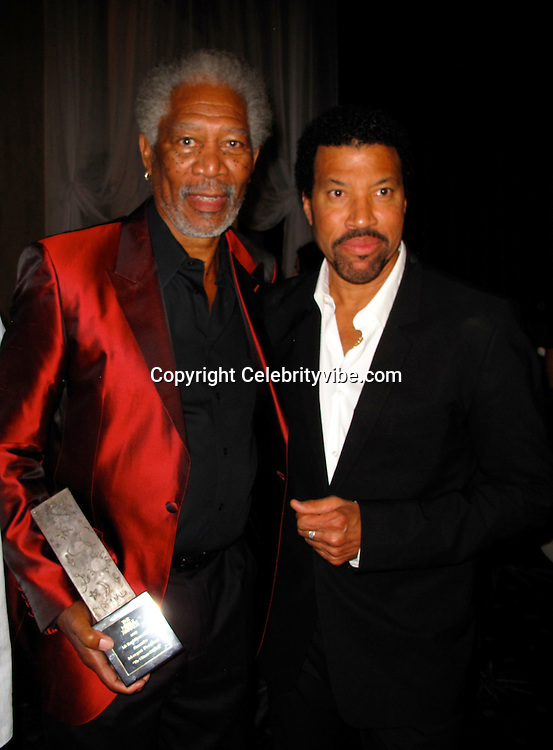 Morgan Freeman and Lionel Richie..First Annual Noble Humanitarian Awards - Inside..Beverly Hilton Hotel..Beverly Hills, CA, USA. .Sunday, October 18, 2009..Photo By Celebrityvibe.com.To license this image please call (212) 410 5354; or Email: celebrityvibe@gmail.com ; .website: www.celebrityvibe.com.