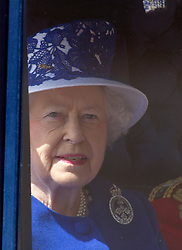 LONDON - UK - 15 JUNE 2013: Members of the British Royal Family join HM Queen Elizabeth for the annual Trooping The Colour Ceremony to mark the Queen's Official Birthday. The Queen and members of the family travelled by carriage to Horseguards for the ceremonial parade before joining her on the balcony of Buckingham Palace.<br /> The Duke of Edinburgh who normally accompanies the Queen was absent as he is still in hospital recovering from an operation.<br /> Photograph by Ian Jones.