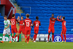 CARDIFF, WALES - Thursday, August 9, 2018: FC Midtjylland's Paul Onuachu (centre) celebrates scoring the second goal during the UEFA Europa League Third Qualifying Round 1st Leg match between The New Saints FC and FC Midtjylland at Cardiff City Stadium. (Pic by David Rawcliffe/Propaganda)