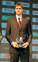Erazem Lorbek of Barcelona poses with his Best Second Team trophy during the Euroleague Basketball 2009-2010 Season Awards Ceremony at Hotel de Ville on May 8, 2010 in Paris, France. (Photo by Nebojsa Parausic / Sportida)