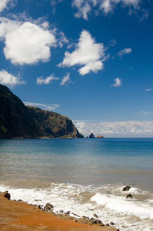A view of rocks, cliffs and sea from the north coast road, Madeira, Portugal