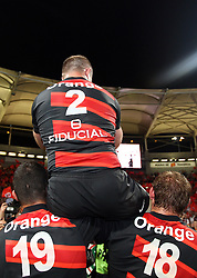 William Servat of Stade Toulousain (2) is held aloft by his team mates after playing his last match in Toulouse. Toulouse v Castres, Top 14, Demi-Finale, Stade Municipal, Toulouse, France, June 2nd 2012