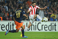 FOOTBALL - UEFA CHAMPIONS LEAGUE 2012/2013 - GROUP STAGE - GROUP B - MONTPELLIER HSC v OLYMPIACOS - 24/10/2012 - PHOTO SYLVAIN THOMAS / DPPI - YOUNES BELHANDA (MHSC) / DJAMEL ABDOUN (OFC)