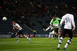 Cardiff City's Kenneth Zohore fires a shot at goal  - Mandatory by-line: Matt McNulty/JMP - 12/09/2017 - FOOTBALL - Deepdale Stadium - Preston, England - Preston North End v Cardiff City - SkyBet Championship
