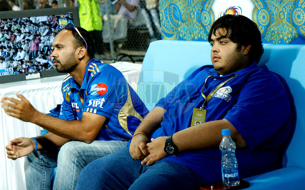 paras mhambrey and elder son of nita ambani during match 3 of the the Indian Premier League ( IPL) 2012  between The Mumbai Indians and the Pune Warriors India held at the Wankhede Stadium in Mumbai on the 6th April 2012..Photo by Sandeep Shetty/IPL/SPORTZPICS