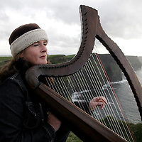 Tina Morrissey from Quilty who has being playing the harp at the Cliffs of Moher for over 20 years but who now faces eviction along with the other musicians by Clare County Council.<br />