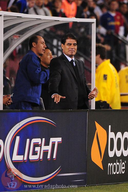 August 8, 2009; San Francisco, CA, USA; Chivas de Guadalajara head coach Francisco Ramirez instructs a player during the first half Chivas de Guadalajara in the Night of Champions international friendly contest at Candlestick Park.