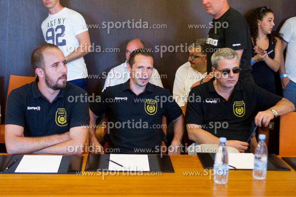 Sasa Praprotni, head coach of RK Jeruzalem Ormoz (in the middle) during press conference before 1. NLB League 2015/16, on August 29, 2015 in Kempinski Hotel, Portoroz / Portorose, Slovenia. Photo by Urban Urbanc / Sportida