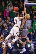 SOUTH BEND, IN - JANUARY 12: Prentiss Hubb #3 of the Notre Dame Fighting Irish shoots the ball against Ky Bowman #0 of the Boston College Eagles at Purcell Pavilion on January 12, 2019 in South Bend, Indiana. (Photo by Michael Hickey/Getty Images) *** Local Caption *** Prentiss Hubb