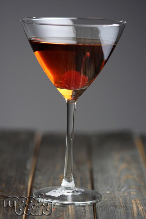 Studio shot of beverage in martini glass