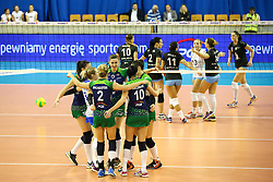 Players of PGE Atom Trefl Sopot celebrate during the volleyball match between Calcit Ljubljana and PGE Atom Trefl Sopot at 2016 CEV Volleyball Champions League, Women, League Round in Pool B, 1st Leg, on October 29, 2016, in Hala Tivoli, Ljubljana, Slovenia.  (Photo by Matic Klansek Velej / Sportida)