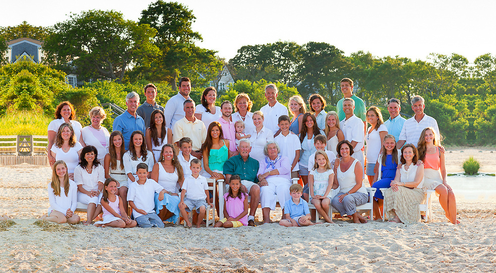 Family portrait of 44 on Breakwater Beach in Brewster