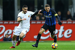 January 21, 2018 - Milan, Italy - Konstantin Manolas of Roma and Mauro Icardi of Internazionale  during the Serie A match between FC Internazionale and AS Roma at Stadio Giuseppe Meazza on January 21, 2018 in Milan, Italy. (Credit Image: © Matteo Ciambelli/NurPhoto via ZUMA Press)