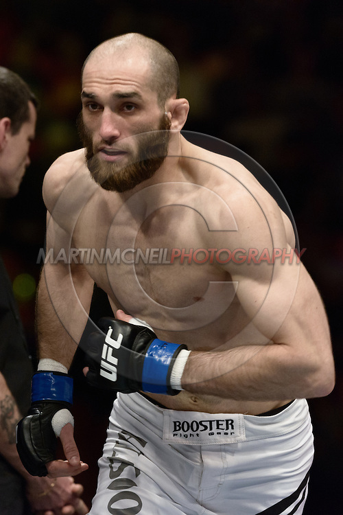 "STOCKHOLM, SWEDEN, APRIL 6, 2013: Action from in and around the octagon during ""UFC on Fuel 9: Mousasi vs. Latifi"" inside the Ericsson Globe Arena in Stockholm, Sweden (Martin McNeil for SB Nation)"