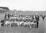 Neg No:.594/8096-8100,..5091954AISHCF,...05.09.1954, 09.05.1954, 5th September 1954,.All Ireland Senior Hurling Championship - Final,..Cork.1-9.Wexford 1-6,..Cork Team,. ..Back row (from left) Jack Barrett (selector), A Scannell (chairman), David Creedon, Gerry O'Riordan, John Lyons, Matty Fouhy, Gerard Murphy, P Collins (selector), Jim Barry (trainer), Back row (from left) Eamonn Goulding, Willie John Daly, A O' Shaughnessy, John Clifford, Joe Hartnett, Christie Ring (Captain), P Barry, Vincent Twomey, W Moore,