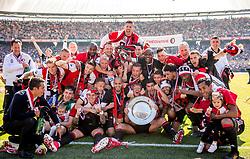 14-05-2017 NED: Kampioenswedstrijd Feyenoord - Heracles Almelo, Rotterdam<br /> In een uitverkochte Kuip speelt Feyenoord om het landskampioenschap / Spelers van Feyenoord vieren het kampioenschap. Dirk Kuyt #7, Tonny Vilhena #10, Coach Giovanni van Bronckhorst