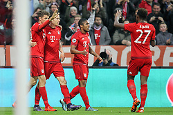 04.11.2015, Allianz Arena, Muenchen, GER, UEFA CL, FC Bayern Muenchen vs FC Arsenal, Gruppe F, im Bild l-r: Torjubel von Thomas Mueller #25 (FC Bayern Muenchen), Robert Lewandowski #9 (FC Bayern Muenchen), Douglas Costa #11 (FC Bayern Muenchen) und David Alaba #27 (FC Bayern Muenchen) // during the UEFA Champions League group F match between FC Bayern Munich and FC Arsenal at the Allianz Arena in Muenchen, Germany on 2015/11/04. EXPA Pictures © 2015, PhotoCredit: EXPA/ Eibner-Pressefoto/ Kolbert<br /> <br /> *****ATTENTION - OUT of GER*****