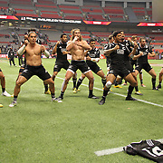 Canada 7's Champions, the NZ All Black 7's team, honor their tradition with a haka after their 19-14 win over the South African Springboks and the trophy presentation at the BC Place Stadium, Vancouver, British Columbia, Canada.  Photo by Barry Markowitz, 3/13/16, 6:50pm