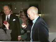 Graydon Carter and Toby Young Vanity Fair Swinging London dinner. River Cafe, London. 20 October 1996.  © Copyright Photograph by Dafydd Jones 66 Stockwell Park Rd. London SW9 0DA Tel 020 7733 0108 www.dafjones.com