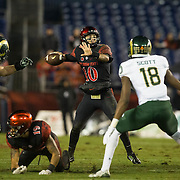 26 November 2016: The San Diego State Aztecs football team closes out the season at home against Colorado State. San Diego quarterback Christian Chapman (10) drops back to pass in the second quarter against the Rams. The Aztecs trail the Rams 42-24 at halftime. www.sdsuaztecphotos.com