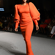 Designer Becca Apparel showcases its latest collection at the Africa Fashion Week London (AFWL) at Freemasons' Hall on 11 August 2018, London, UK.