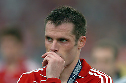 Athens, Greece - Wednesday, May 23, 2007: Liverpool's Jamie Carragher looks dejected after losing 2-1 to AC Milan during the UEFA Champions League Final at the OACA Spyro Louis Olympic Stadium.  (Pic by Jason Roberts/Propaganda)