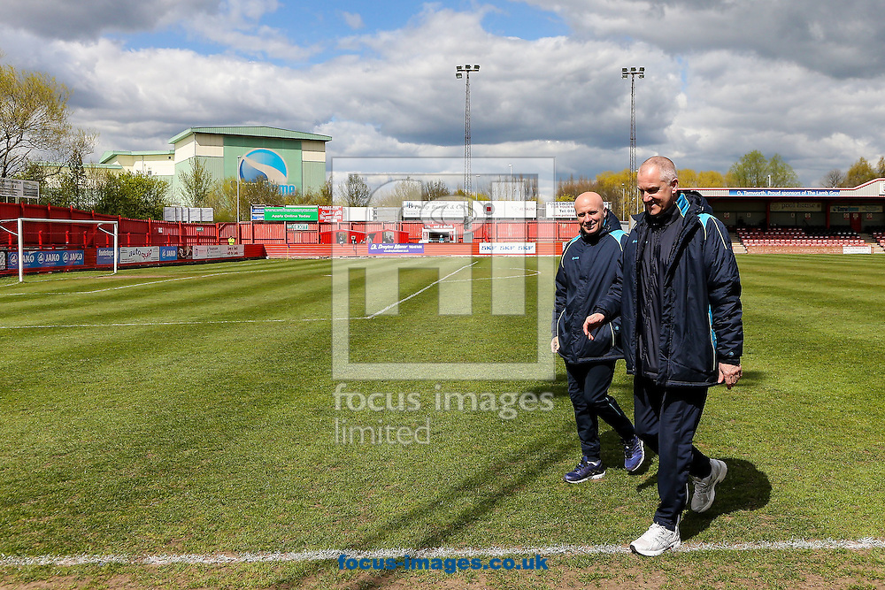 Lowestoft Town manager Ady Gallagher (left) and Lowestoft Town assistant manager Dale Brooks (right) inspect the pitch before the National League North match at the Lamb Ground, Tamworth<br /> Picture by Andy Kearns/Focus Images Ltd 0781 864 4264<br /> 23/04/2016