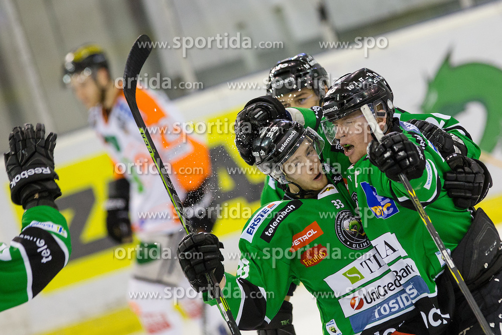 06.01.2015, Hala Tivoli, Ljubljana, SLO, EBEL, HDD Telemach Olimpija vs Moser Medical Graz 99ers, 36. Runde, in picture Players of Olimpija celebrate during the Erste Bank Icehockey League 36. Round between HDD Telemach Olimpija and Moser Medical Graz 99ers at the Hala Tivoli, Ljubljana, Slovenia on 2015/01/06. Photo by Matic Klansek Velej / Sportida
