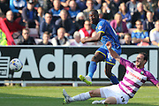 Ade Azeez of AFC Wimbledon nearly makes it two during the Sky Bet League 2 match between AFC Wimbledon and Barnet at the Cherry Red Records Stadium, Kingston, England on 3 October 2015. Photo by Stuart Butcher.