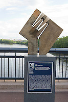 Lincoln Financial Sulpture Walk at Riverfront. over the Connecticut River at Hartford, CT
