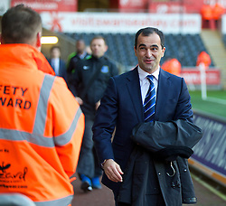SWANSEA, WALES - Sunday, December 22, 2013: Everton's manager Roberto Martinez arrives at the Liberty Stadium where he used to manage Swansea City before the Premiership match. (Pic by David Rawcliffe/Propaganda)