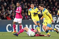FOOTBALL - UEFA CHAMPIONS LEAGUE 2011/2012 - 1/8 FINAL - 1ST LEG - OLYMPIQUE LYONNAIS v APOEL FC - 14/02/2012 - PHOTO EDDY LEMAISTRE / DPPI - KIM KALLSTROM  (OL) AND HELDER SOUSA (APOEL FC)