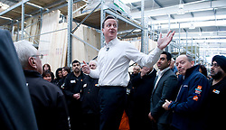 Leader of the Conservative Party David Cameron talks to members of staff at a B & Q store in Hayes, Middlesex, Thursday April 1st, 2010. Photo By Andrew Parsons / i-Images.