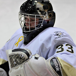 WHITBY, ON - Oct 21: Ontario Junior Hockey League game between Trenton Golden Hawks and Whitby Fury. Andrew Winsor #33 of the Trenton Golden Hawks during the pre-game warm-up..(Photo by Shawn Muir / OJHL Images)