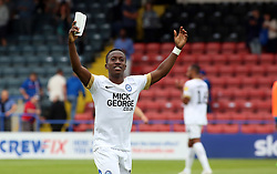 Siriki Dembele of Peterborough United celebrates the win at full-time - Mandatory by-line: Joe Dent/JMP - 11/08/2018 - FOOTBALL - Crown Oil Arena - Rochdale, England - Rochdale v Peterborough United - Sky Bet League One