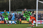 Forest Green Rovers Alex Bray(31) scores a goal 1-0 and celebrates during the EFL Sky Bet League 2 match between Forest Green Rovers and Coventry City at the New Lawn, Forest Green, United Kingdom on 3 February 2018. Picture by Shane Healey.