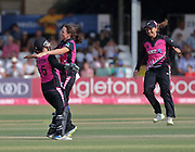 Captain Suzie Bates (right) runs to celebrate after Sarah Taylor is bowled by Amelia Kerr (centre) during the international T20 Final between England Women and the White Ferns at the County Ground, Chelmsford. Photo: Graham Morris/www.photosport.nz 01/07/18