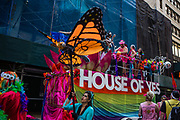 New York, NY - 25 June 2017. New York City Heritage of Pride March filled Fifth Avenue for hours with groups from the LGBT community and it's supporters. A float from the House of Yes, a Brooklyn performance venue, waits their turn to step off on a side street late in the afternoon.