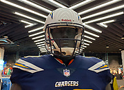 Oct 19, 2018; London, United Kingdom; General overall view of mannequin with helmet and uniform of Los Angeles Chargers running back Melvin Gordon (28) at Niketown London.
