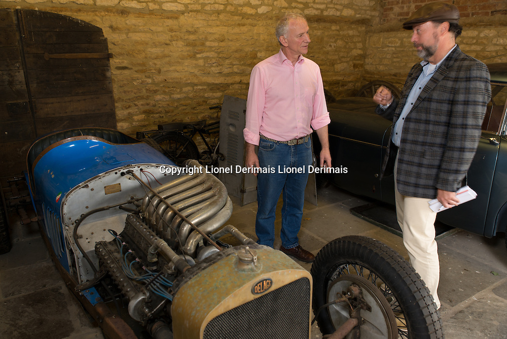 "Julian Majzub, founder / owner of ""Blockley tyre"" at home in Gloucestershire. Delage 2LCV from 1925 with compressor V12 2 liter supercharged."